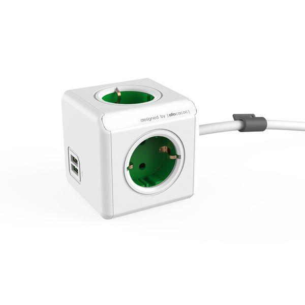 Сетевой фильтр Allocacoc 1402GN/DEEUPC Power cube Extended зеленый
